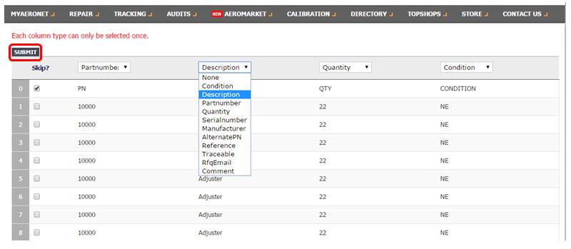AeroMarket Inventory File Upload